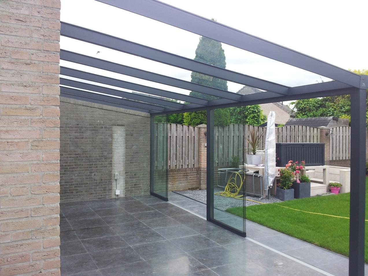 Alu reh glas schuifwand luxe for Terras modern huis