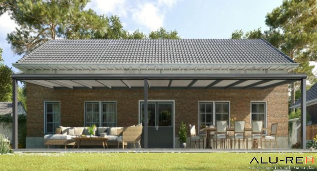 Hedendaags Terrasoverkapping: Moderne terrasoverkapping in mat antraciet van QA-45